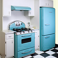 to retro fit your home start with retro blue kitchen appliances
